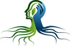 Logotipo da cara de raiz ilustração do vetor