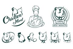 Logotipo da carne da galinha Alimento da carne ilustração stock