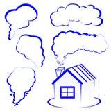 Logotipo da casa com um fumo Foto de Stock Royalty Free