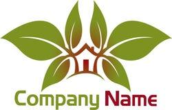 Logotipo da casa da folha Foto de Stock