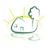 Logotipo da casa de árvore de Sun ilustração royalty free