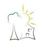 Logotipo da casa de árvore de Sun ilustração stock