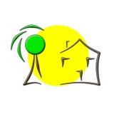 Logotipo da casa de árvore de Sun Fotos de Stock Royalty Free