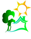 Logotipo da casa de Eco Fotografia de Stock Royalty Free