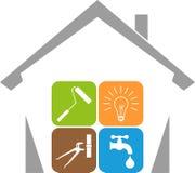 Logotipo da casa e das ferramentas, dos guarda de serviço e das ferramentas ilustração stock