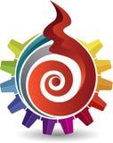 Logotipo da chama da engrenagem ilustração stock