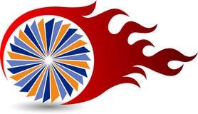 Logotipo da chama da roda ilustração royalty free