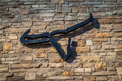 Logotipo da churrasqueira de Longhorn na parede Fotografia de Stock Royalty Free