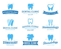 Logotipo da clínica, ícones e elementos dentais do projeto Imagens de Stock Royalty Free