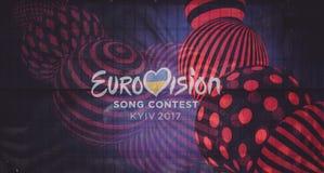 Logotipo da competição de música de Eurovision Ucrânia 2017 imagens de stock royalty free