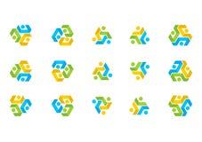Logotipo da conexão dos trabalhos de equipa, equipe da educação da ilustração, vetor social da cenografia da rede Fotos de Stock