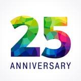 logotipo da cor de 25 aniversários ilustração do vetor