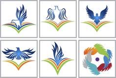Logotipo da educação do pássaro Fotos de Stock Royalty Free