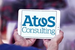 Logotipo da empresa de consultoria de Atos Imagem de Stock Royalty Free