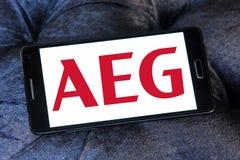 Logotipo da empresa de eletrônica de AEG fotografia de stock royalty free
