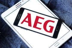 Logotipo da empresa de eletrônica de AEG imagens de stock