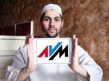Logotipo da empresa de eletrônica de AVM fotografia de stock