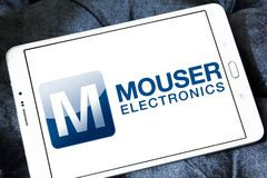 Logotipo da empresa de eletrônica do gato foto de stock