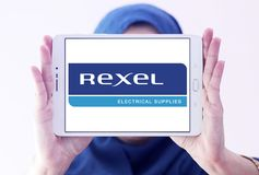 Logotipo da empresa de eletrônica de Rexel imagem de stock royalty free