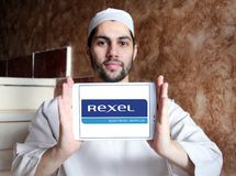 Logotipo da empresa de eletrônica de Rexel imagens de stock