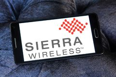 Logotipo da empresa de Sierra Wireless imagem de stock