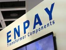 Logotipo da empresa dos componentes do transformador de Enpay fotografia de stock royalty free