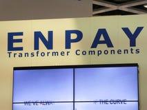 Logotipo da empresa dos componentes do transformador de Enpay fotografia de stock