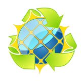Logotipo da energia solar Setas de Eco Imagens de Stock