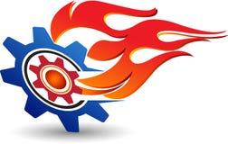 Logotipo da engrenagem da chama ilustração do vetor