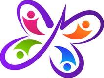 Logotipo da equipe da borboleta ilustração stock
