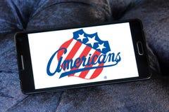 Logotipo da equipe de hóquei em gelo dos americanos de Rochester foto de stock royalty free