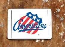 Logotipo da equipe de hóquei em gelo dos americanos de Rochester fotografia de stock royalty free