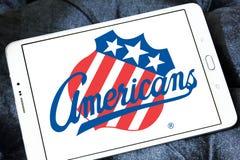 Logotipo da equipe de hóquei em gelo dos americanos de Rochester fotografia de stock