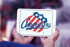Logotipo da equipe de hóquei em gelo dos americanos de Rochester fotos de stock