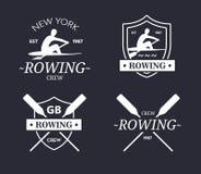 Logotipo da equipe do enfileiramento Emblema do vetor do grupo do enfileiramento com pás Silhueta do remador Imagens de Stock
