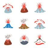 Logotipo da erupção do vulcão, ilustração do vetor no fundo branco Fotos de Stock