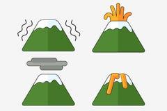 Logotipo da erupção do vulcão, ilustração no fundo branco Foto de Stock Royalty Free
