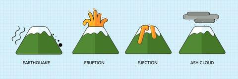 Logotipo da erupção do vulcão, ilustração no fundo branco Imagens de Stock