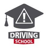 Logotipo da escola, do carro e do mecânico de condução ilustração do vetor