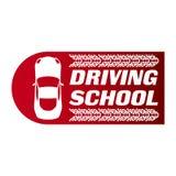 Logotipo da escola, do carro e do mecânico de condução ilustração stock