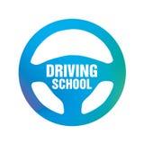 Logotipo da escola, do carro e do mecânico de condução ilustração royalty free