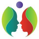 Logotipo da face da folha ilustração stock