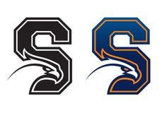 Logotipo da faculdade da cabeça da águia da letra S Foto de Stock