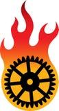 Logotipo da flama da engrenagem ilustração royalty free