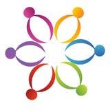 Logotipo da flor da sustentação dos trabalhos de equipa Fotos de Stock Royalty Free
