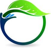 Logotipo da folha da mão Fotografia de Stock Royalty Free