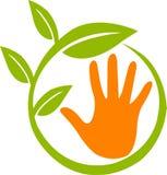 Logotipo da folha da mão Foto de Stock Royalty Free