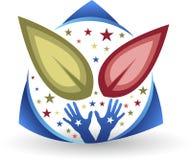 Logotipo da folha da mão ilustração stock