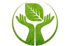 Logotipo da folha da mão Imagem de Stock Royalty Free