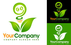 Logotipo da folha de Eco Imagem de Stock